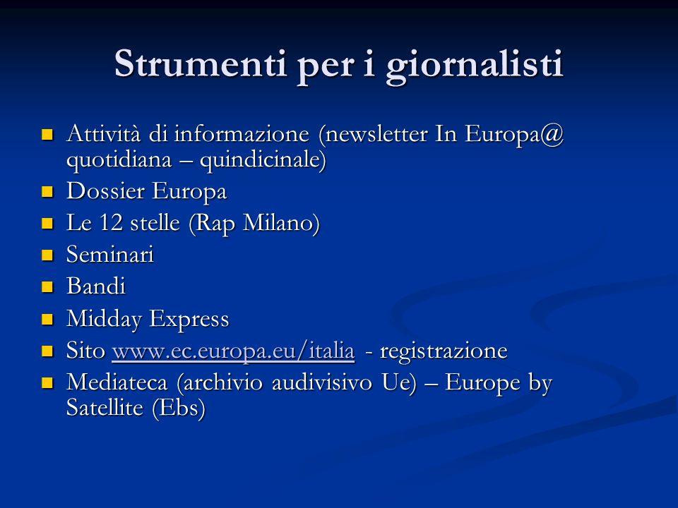 Strumenti per i giornalisti Attività di informazione (newsletter In Europa@ quotidiana – quindicinale) Attività di informazione (newsletter In Europa@