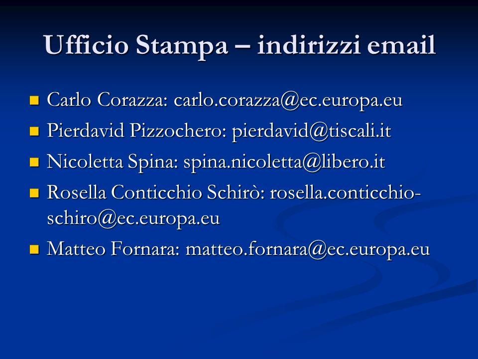 Ufficio Stampa – indirizzi email Carlo Corazza: carlo.corazza@ec.europa.eu Carlo Corazza: carlo.corazza@ec.europa.eu Pierdavid Pizzochero: pierdavid@t