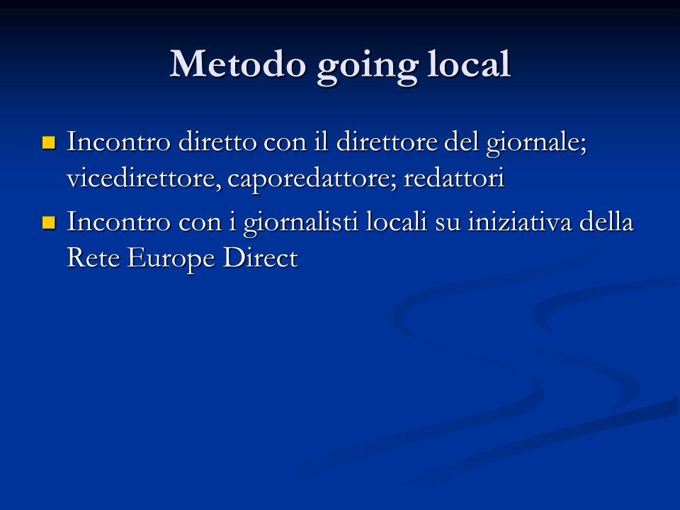 Metodo going local Incontro diretto con il direttore del giornale; vicedirettore, caporedattore; redattori Incontro diretto con il direttore del giornale; vicedirettore, caporedattore; redattori Incontro con i giornalisti locali su iniziativa della Rete Europe Direct Incontro con i giornalisti locali su iniziativa della Rete Europe Direct