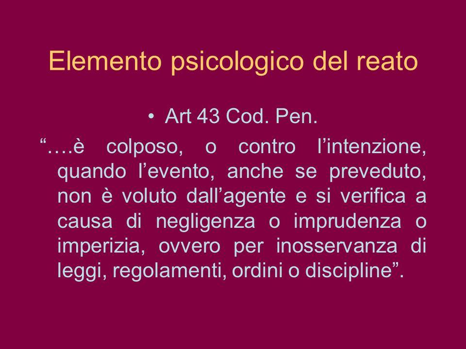 Elemento psicologico del reato Art 43 Cod. Pen. ….è colposo, o contro lintenzione, quando levento, anche se preveduto, non è voluto dallagente e si ve