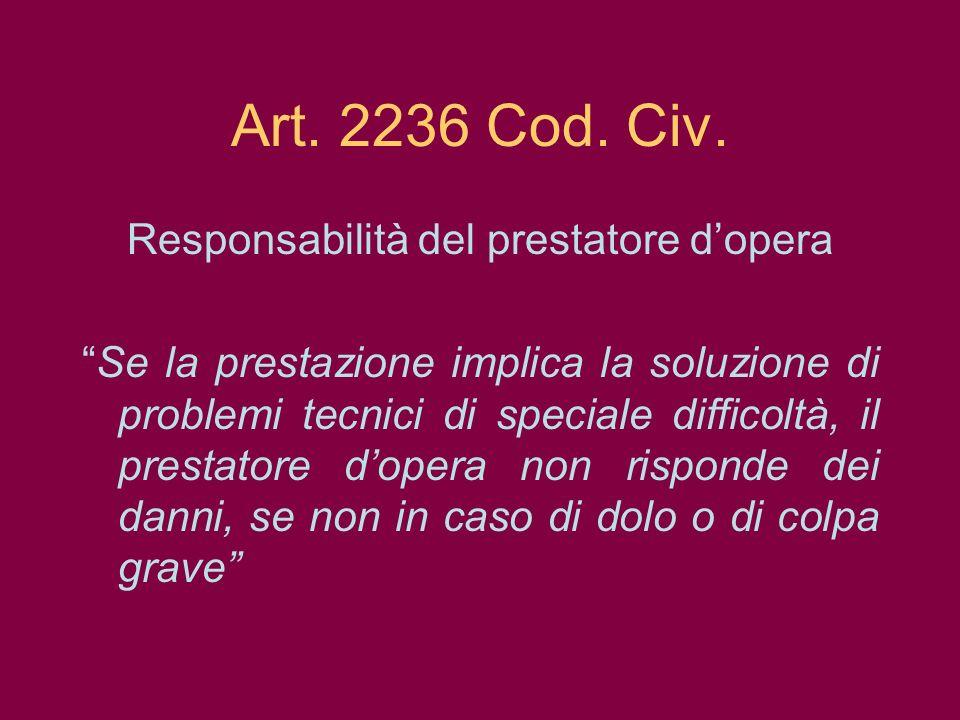 Art. 2236 Cod. Civ. Responsabilità del prestatore dopera Se la prestazione implica la soluzione di problemi tecnici di speciale difficoltà, il prestat