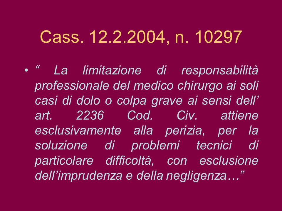 Cass. 12.2.2004, n. 10297 La limitazione di responsabilità professionale del medico chirurgo ai soli casi di dolo o colpa grave ai sensi dell art. 223
