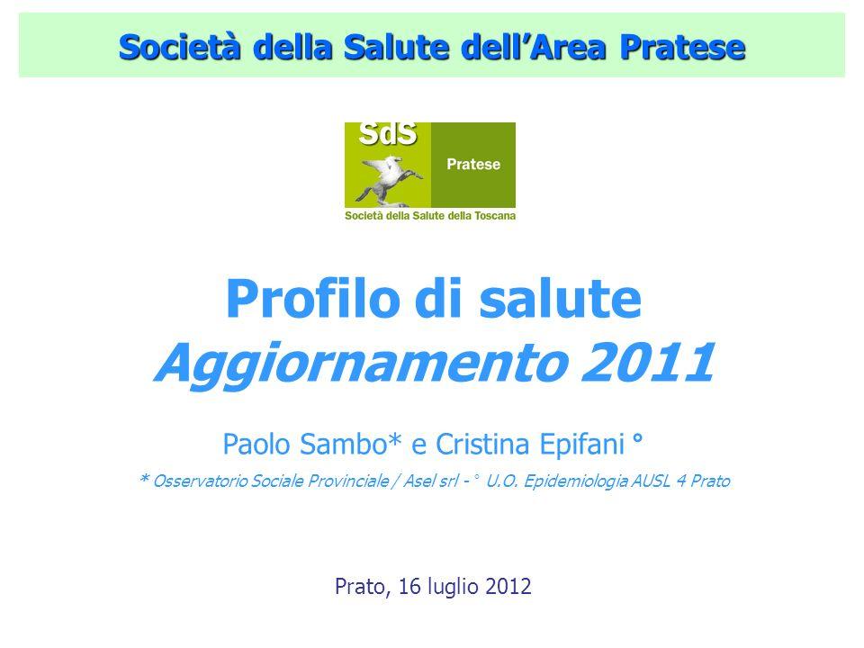 Società della Salute dellArea Pratese Profilo di salute Aggiornamento 2011 Paolo Sambo* e Cristina Epifani ° * Osservatorio Sociale Provinciale / Asel