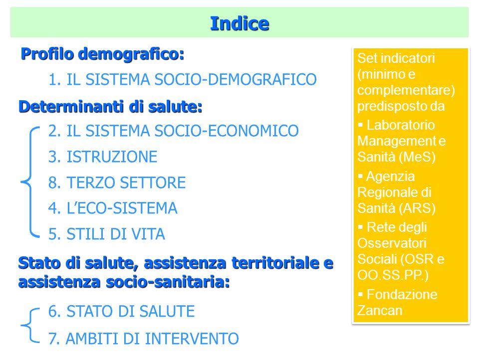 Indice 1. IL SISTEMA SOCIO-DEMOGRAFICO 2. IL SISTEMA SOCIO-ECONOMICO 3. ISTRUZIONE 8. TERZO SETTORE 4. LECO-SISTEMA 5. STILI DI VITA 6. STATO DI SALUT