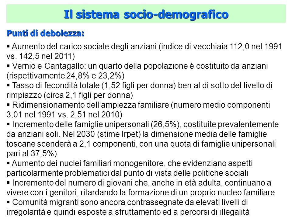 Punti di debolezza: Aumento del carico sociale degli anziani (indice di vecchiaia 112,0 nel 1991 vs. 142,5 nel 2011) Vernio e Cantagallo: un quarto de