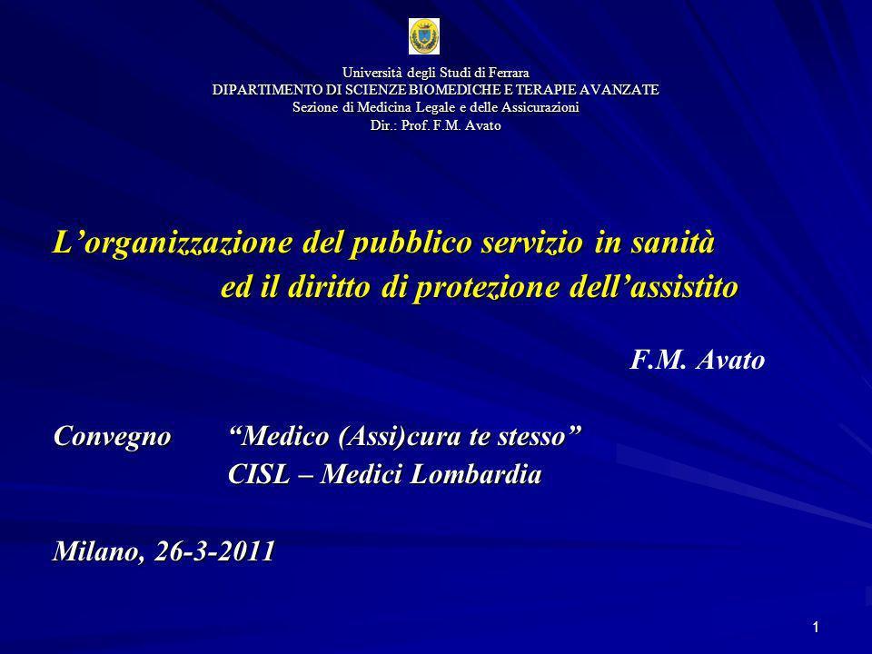 1 Lorganizzazione del pubblico servizio in sanità ed il diritto di protezione dellassistito F.M. Avato Convegno Medico (Assi)cura te stesso CISL – Med