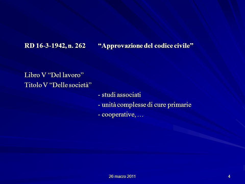26 marzo 2011 4 RD 16-3-1942, n. 262 Approvazione del codice civile Libro V Del lavoro Titolo V Delle società - studi associati - unità complesse di c