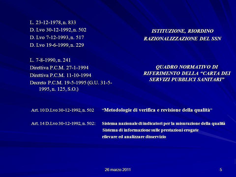 26 marzo 2011 5 L. 23-12-1978, n. 833 D. Lvo 30-12-1992, n.