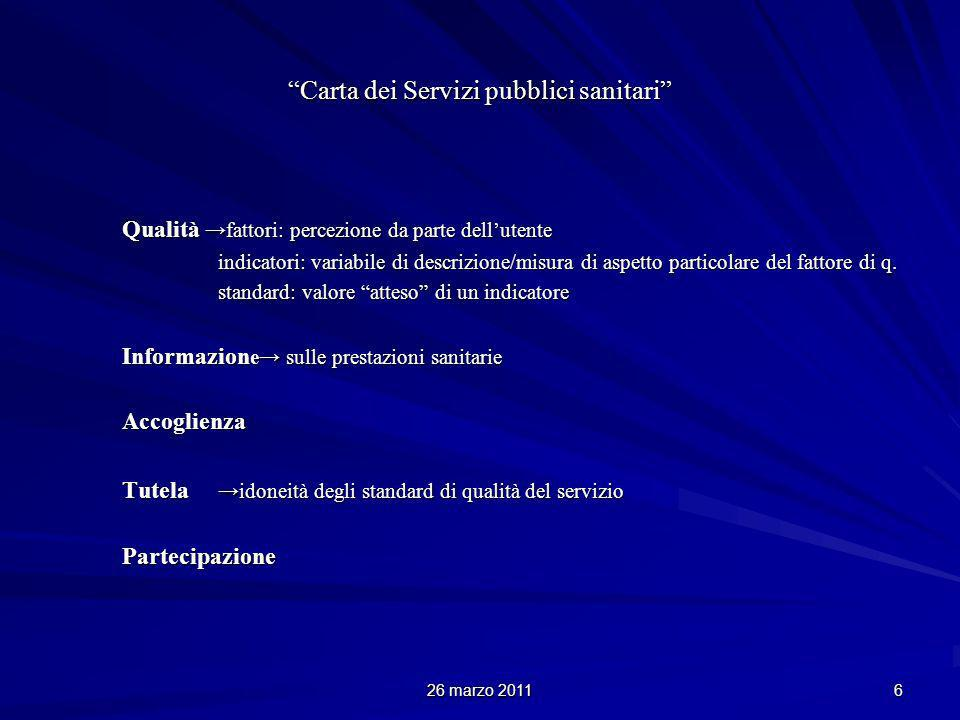 26 marzo 2011 6 Carta dei Servizi pubblici sanitari Qualità fattori: percezione da parte dellutente indicatori: variabile di descrizione/misura di aspetto particolare del fattore di q.