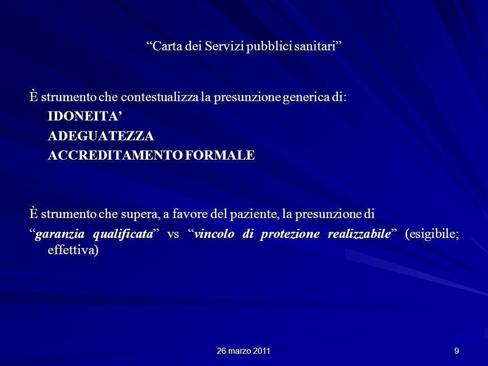 26 marzo 2011 9 Carta dei Servizi pubblici sanitari È strumento che contestualizza la presunzione generica di: IDONEITAADEGUATEZZA ACCREDITAMENTO FORM