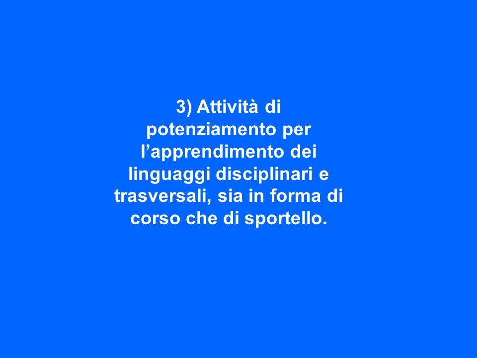 4) Corsi degli studenti del triennio in vista dellesame di stato con docenti dellIstituto.