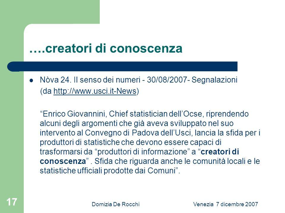 Domizia De RocchiVenezia 7 dicembre 2007 17 ….creatori di conoscenza Nòva 24.