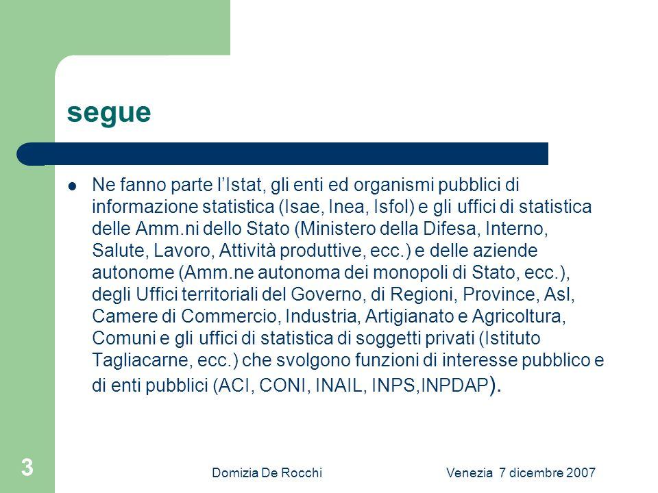 Domizia De RocchiVenezia 7 dicembre 2007 4 segue Lo scambio di esperienze, di conoscenze, di tecnologie e di informazioni che si realizza allinterno di questa rete di soggetti rappresenta il patrimonio piu importante del Sistema.