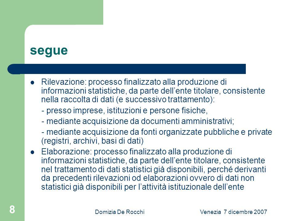 Domizia De RocchiVenezia 7 dicembre 2007 9 segue Studi progettuali: attività di analisi e ricerca finalizzata : - allimpianto, alla ristrutturazione o al miglioramento di uno o piu processi di produzione statistica - allimpianto di sistemi informativi di supporto allattività statistica - allo sviluppo di strumenti generalizzati di supporto allattività statistica