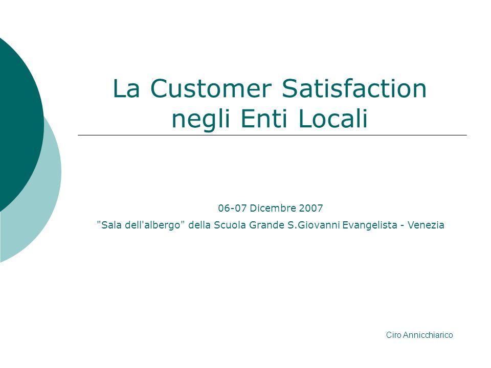 Argomenti Evoluzione normativa La customer satisfaction Costruire lindagine di C.S.