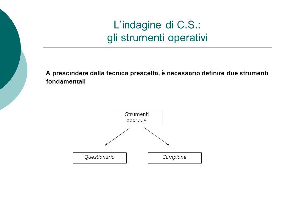 Lindagine di C.S.: gli strumenti operativi A prescindere dalla tecnica prescelta, è necessario definire due strumenti fondamentali Strumenti operativi