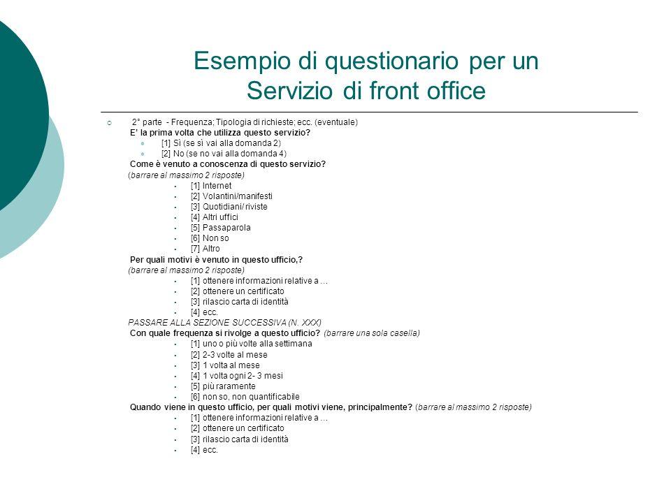 Esempio di questionario per un Servizio di front office 2° parte - Frequenza; Tipologia di richieste; ecc. (eventuale) E la prima volta che utilizza q