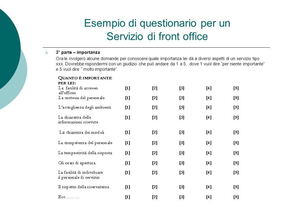 Esempio di questionario per un Servizio di front office 3° parte – importanza Ora le rivolgerò alcune domande per conoscere quale importanza lei dà a