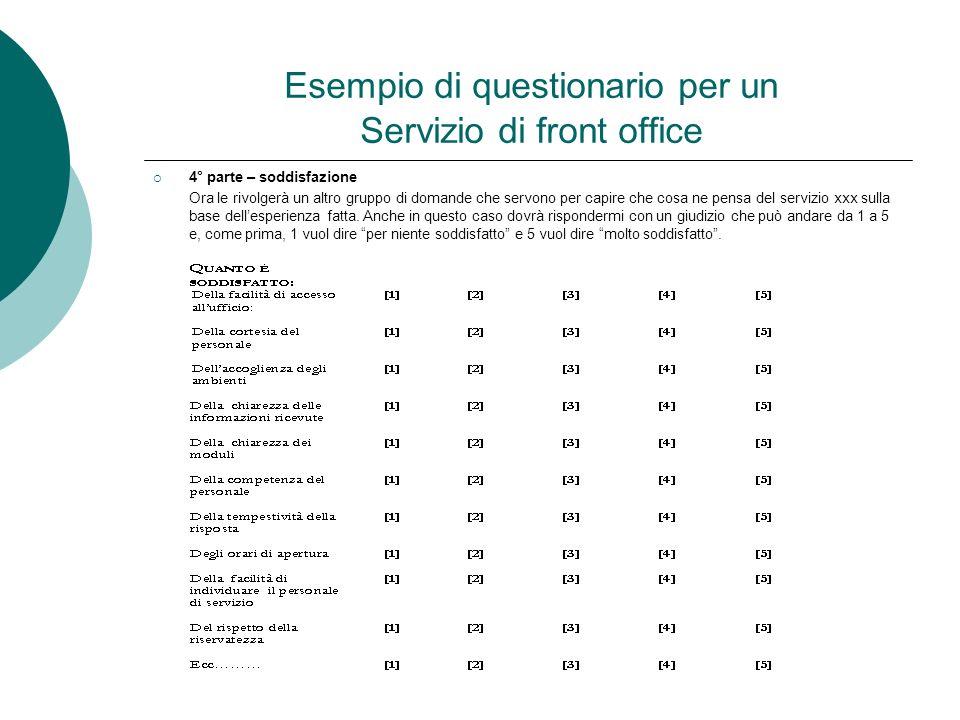 Esempio di questionario per un Servizio di front office 4° parte – soddisfazione Ora le rivolgerà un altro gruppo di domande che servono per capire ch