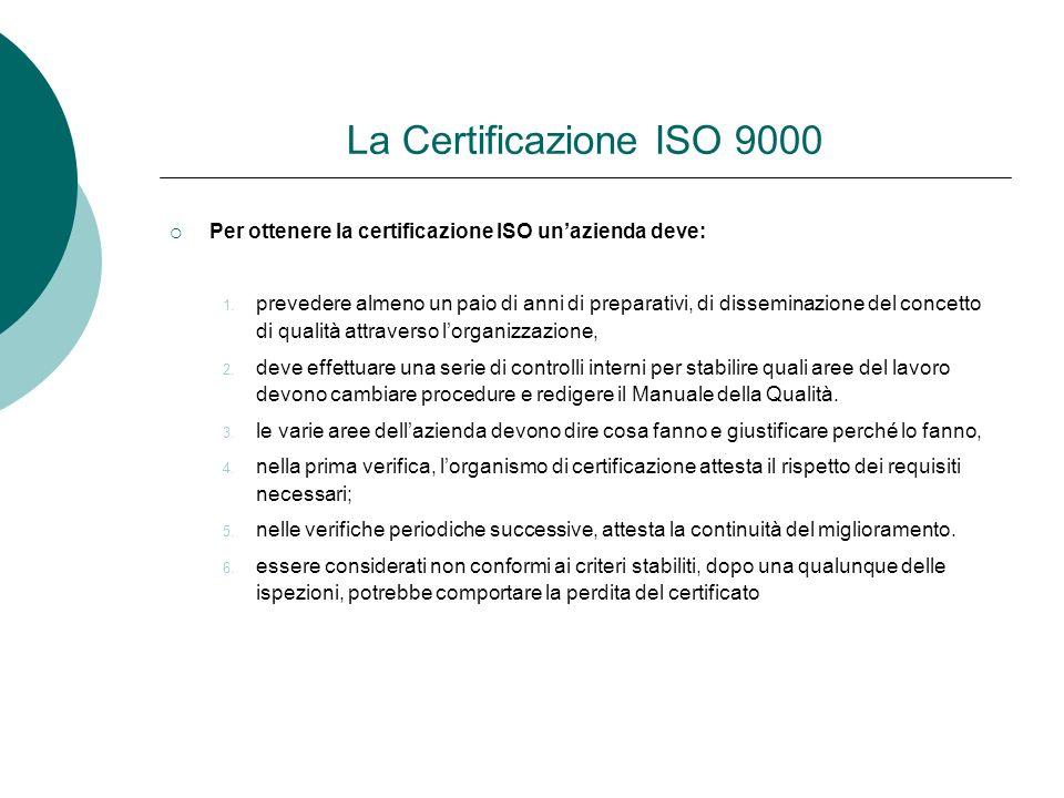 La Certificazione ISO 9000 Per ottenere la certificazione ISO unazienda deve: 1. prevedere almeno un paio di anni di preparativi, di disseminazione de