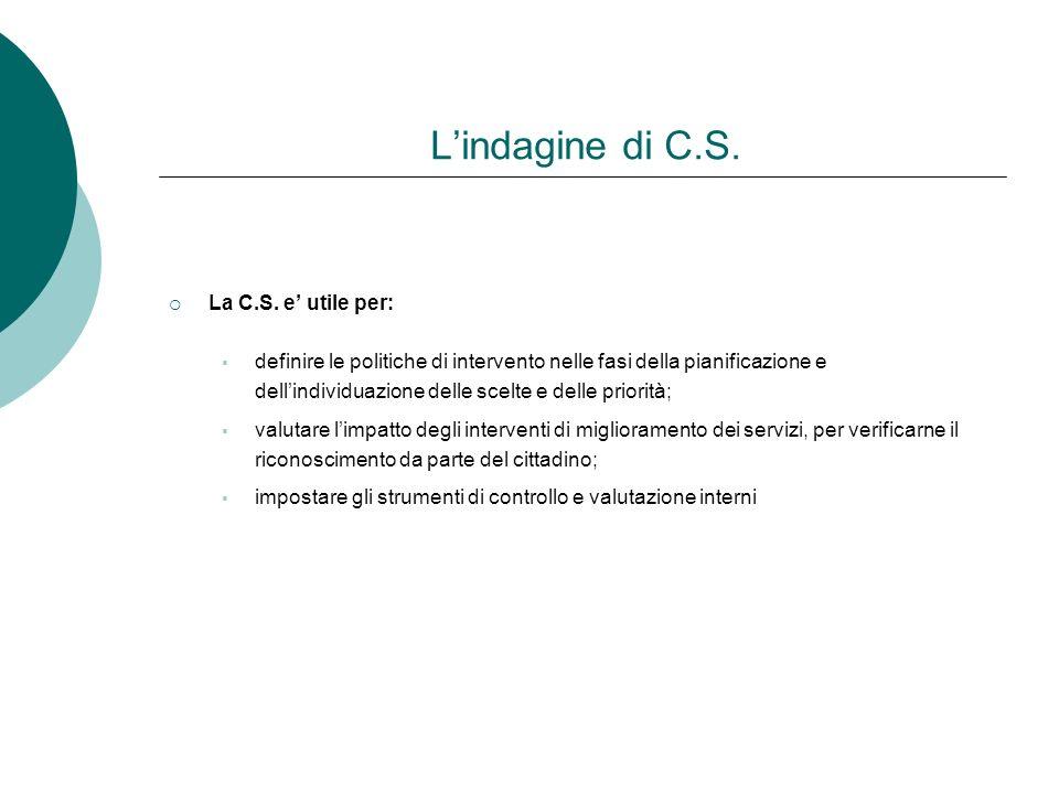 Lindagine di C.S. La C.S. e utile per: definire le politiche di intervento nelle fasi della pianificazione e dellindividuazione delle scelte e delle p