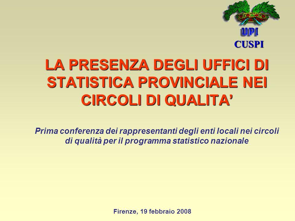 LA PRESENZA DEGLI UFFICI DI STATISTICA PROVINCIALE NEI CIRCOLI DI QUALITA LA PRESENZA DEGLI UFFICI DI STATISTICA PROVINCIALE NEI CIRCOLI DI QUALITA Prima conferenza dei rappresentanti degli enti locali nei circoli di qualità per il programma statistico nazionale CUSPI Firenze, 19 febbraio 2008