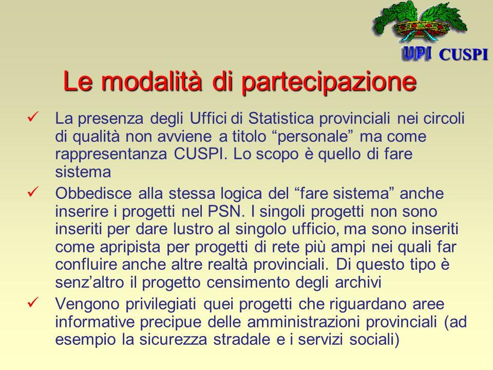 La presenza degli Uffici di Statistica provinciali nei circoli di qualità non avviene a titolo personale ma come rappresentanza CUSPI.