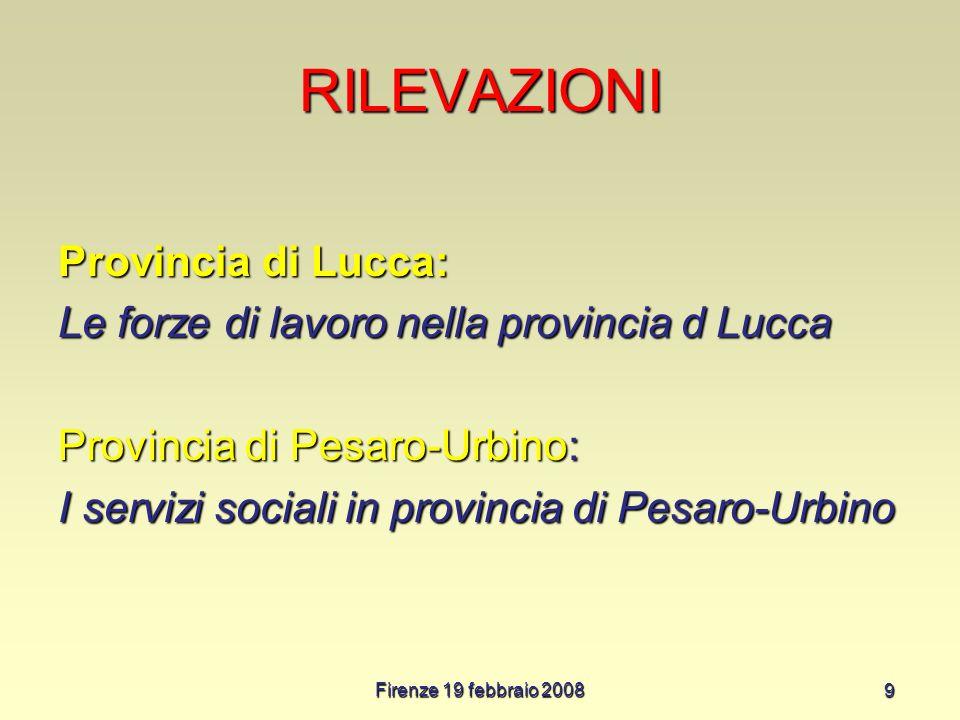 Firenze 19 febbraio 2008 9 RILEVAZIONI Provincia di Lucca: Le forze di lavoro nella provincia d Lucca Provincia di Pesaro-Urbino: I servizi sociali in provincia di Pesaro-Urbino