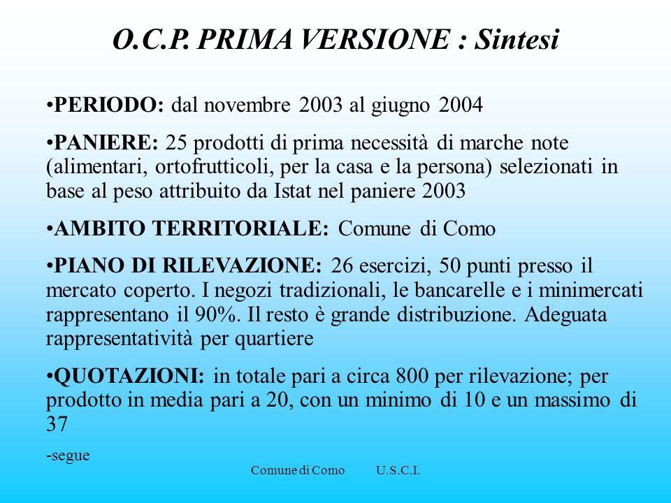 Comune di Como U.S.C.I. O.C.P. PRIMA VERSIONE : Sintesi PERIODO: dal novembre 2003 al giugno 2004 PANIERE: 25 prodotti di prima necessità di marche no