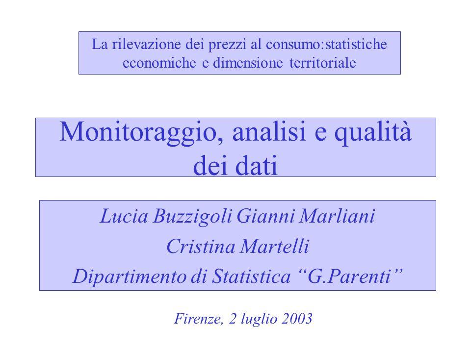 Monitoraggio, analisi e qualità dei dati Lucia Buzzigoli Gianni Marliani Cristina Martelli Dipartimento di Statistica G.Parenti La rilevazione dei pre