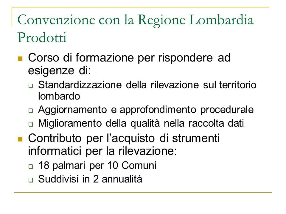 Convenzione con la Regione Lombardia Prodotti Corso di formazione per rispondere ad esigenze di: Standardizzazione della rilevazione sul territorio lo