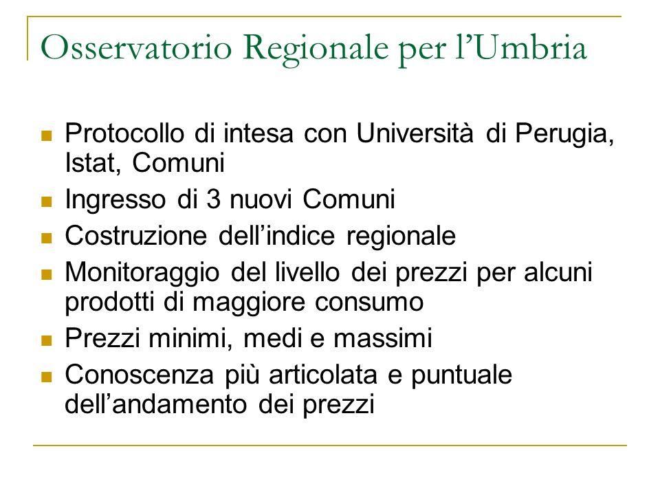 Osservatorio Regionale per lUmbria Protocollo di intesa con Università di Perugia, Istat, Comuni Ingresso di 3 nuovi Comuni Costruzione dellindice reg