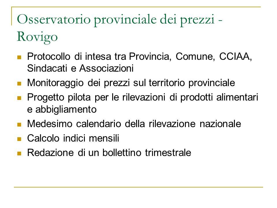 Osservatorio provinciale dei prezzi - Rovigo Protocollo di intesa tra Provincia, Comune, CCIAA, Sindacati e Associazioni Monitoraggio dei prezzi sul t