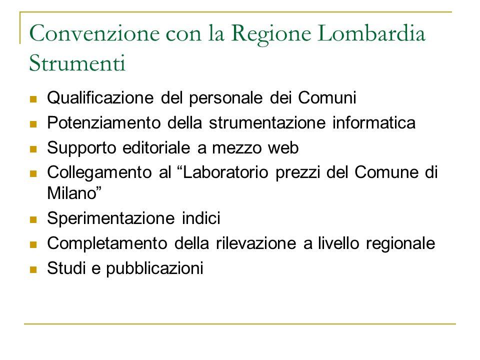 Convenzione con la Regione Lombardia Strumenti Qualificazione del personale dei Comuni Potenziamento della strumentazione informatica Supporto editori