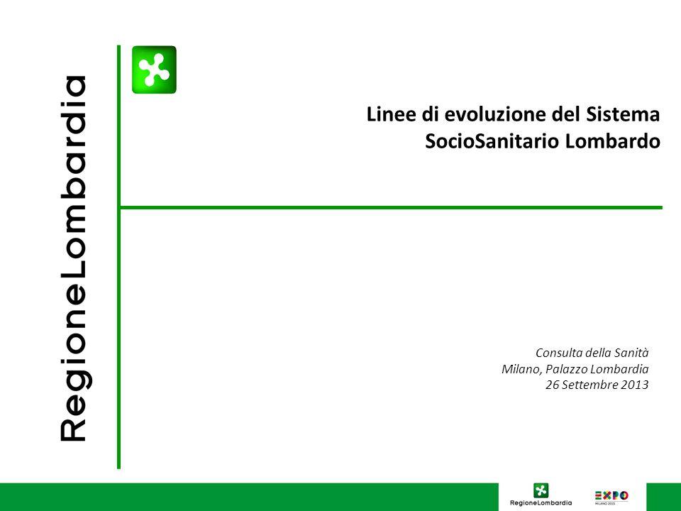 Linee di evoluzione del Sistema SocioSanitario Lombardo Consulta della Sanità Milano, Palazzo Lombardia 26 Settembre 2013