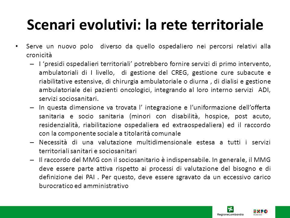 Scenari evolutivi: la rete territoriale Serve un nuovo polo diverso da quello ospedaliero nei percorsi relativi alla cronicità – I presidi ospedalieri