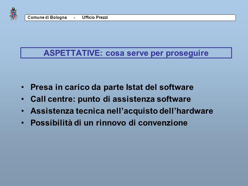 Comune di Bologna - Ufficio Prezzi CRITICITA Software Deterioramento delle sandisk Usura schermo Difficoltà di illuminazione Lentezza Rigidità Congelamento dei programmi Hardware