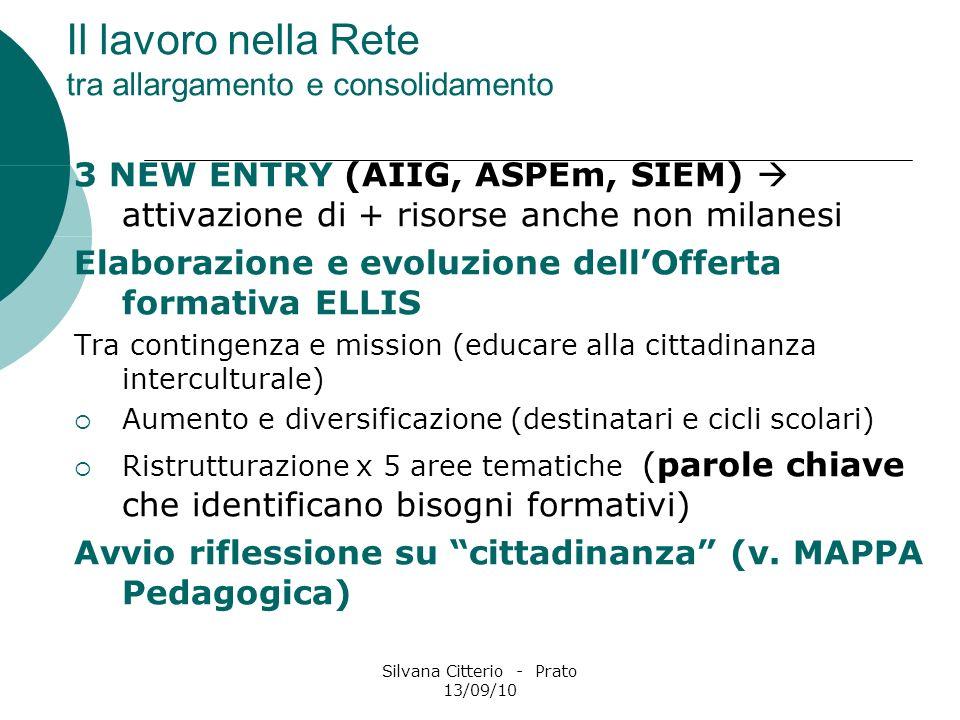 Silvana Citterio - Prato 13/09/10 Il lavoro nella Rete tra allargamento e consolidamento 3 NEW ENTRY (AIIG, ASPEm, SIEM) attivazione di + risorse anch
