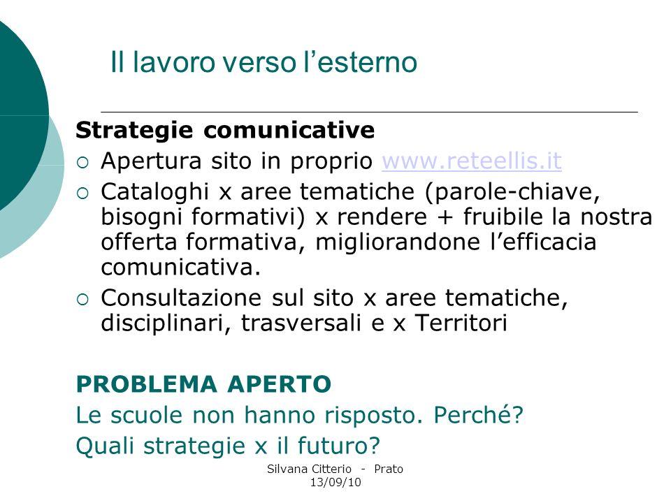Silvana Citterio - Prato 13/09/10 Il lavoro verso lesterno Strategie comunicative Apertura sito in proprio www.reteellis.itwww.reteellis.it Cataloghi