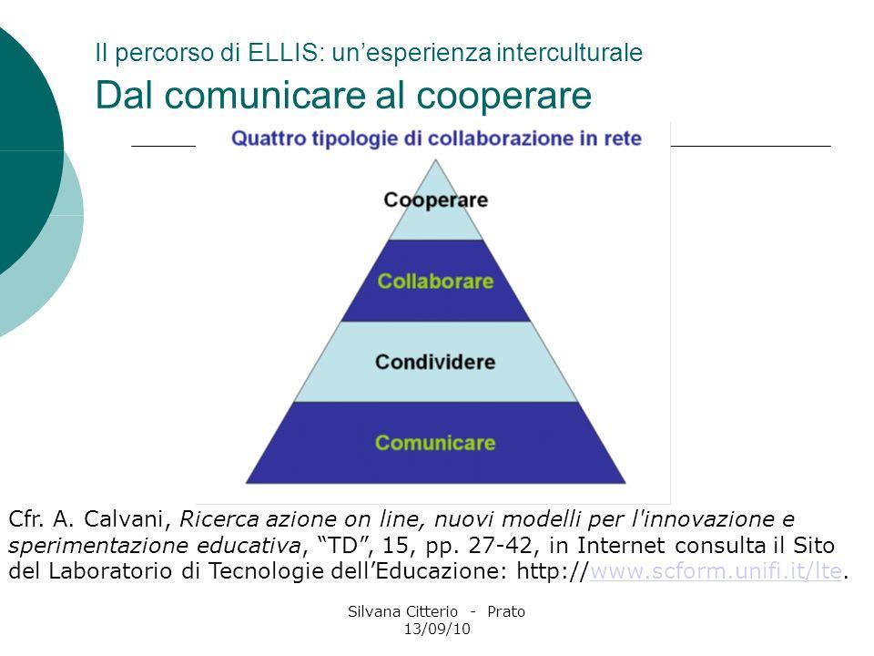 Silvana Citterio - Prato 13/09/10 Il percorso di ELLIS: unesperienza interculturale Dal comunicare al cooperare Cfr. A. Calvani, Ricerca azione on lin