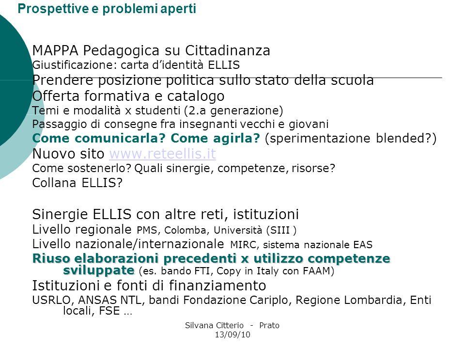 Silvana Citterio - Prato 13/09/10 Prospettive e problemi aperti MAPPA Pedagogica su Cittadinanza Giustificazione: carta didentità ELLIS Prendere posiz