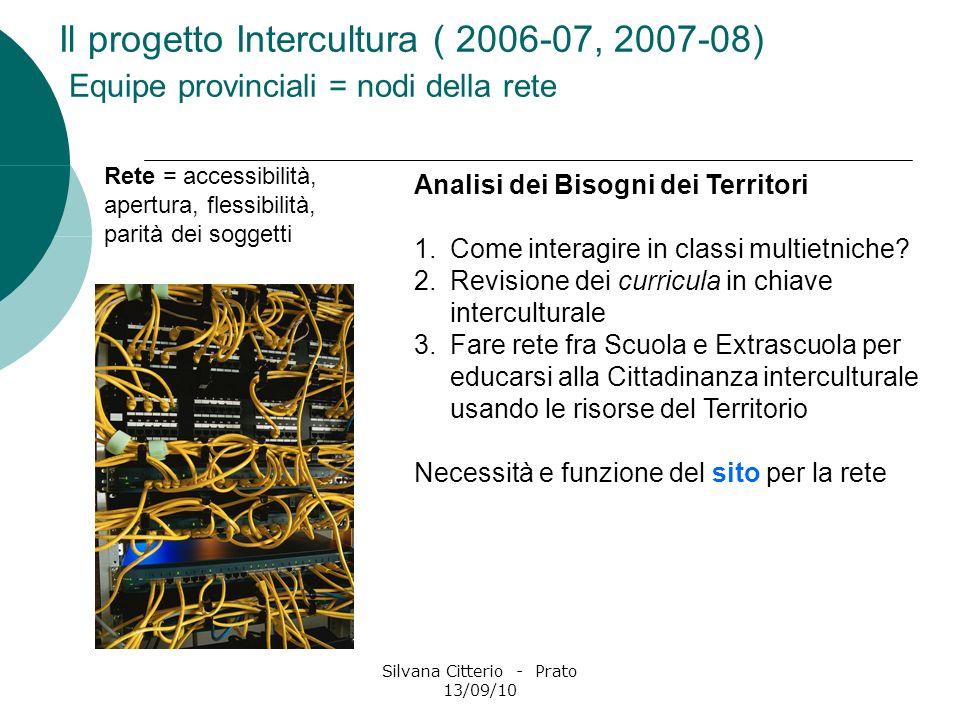 Silvana Citterio - Prato 13/09/10 Il progetto Intercultura ( 2006-07, 2007-08) Equipe provinciali = nodi della rete Analisi dei Bisogni dei Territori