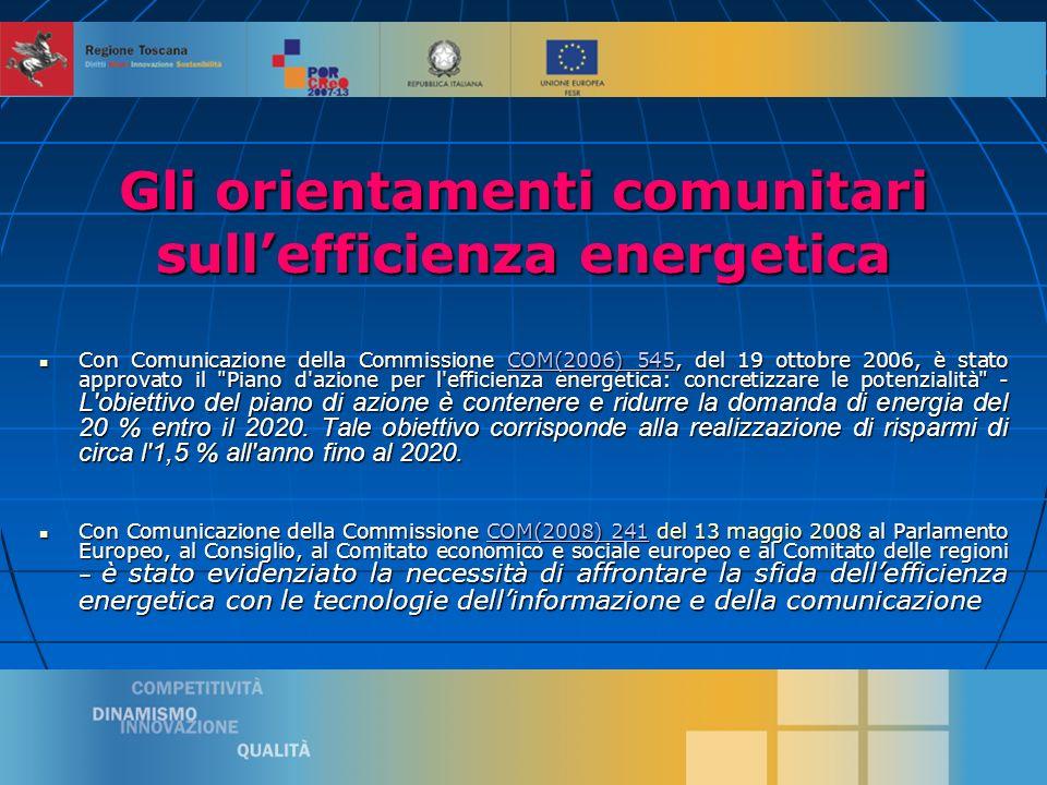 2 Gli orientamenti comunitari sullefficienza energetica Con Comunicazione della Commissione COM(2006) 545, del 19 ottobre 2006, è stato approvato il Piano d azione per l efficienza energetica: concretizzare le potenzialità - L obiettivo del piano di azione è contenere e ridurre la domanda di energia del 20 % entro il 2020.