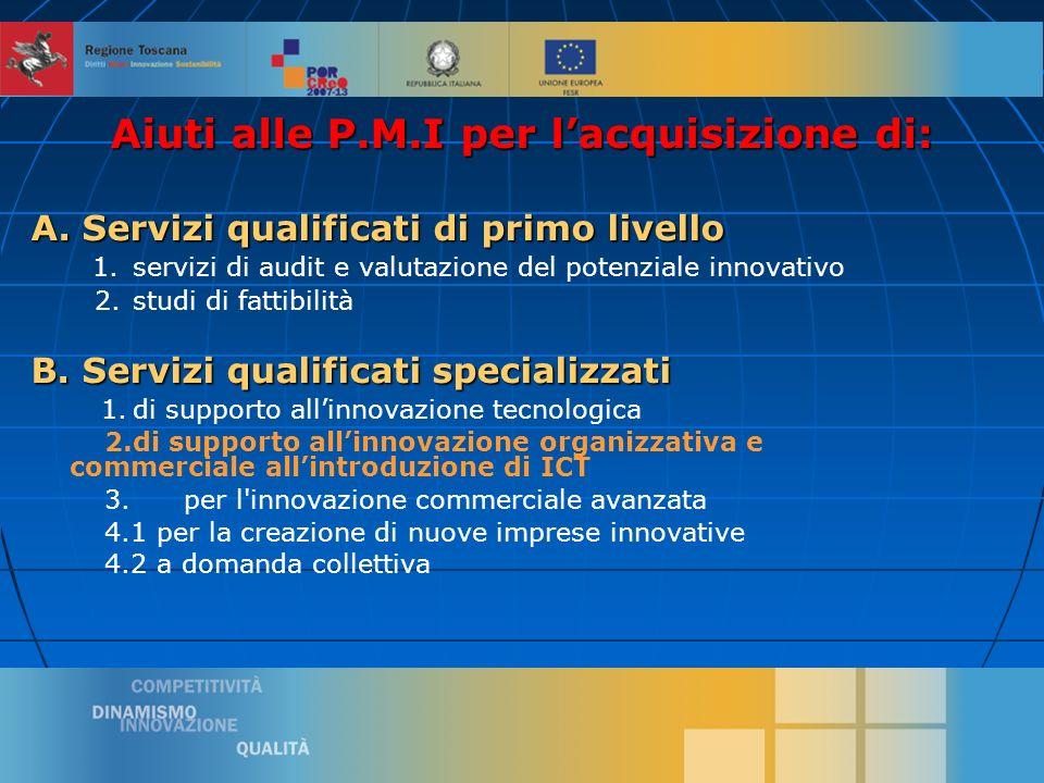 7 Aiuti alle P.M.I per lacquisizione di: A. Servizi qualificati di primo livello 1.