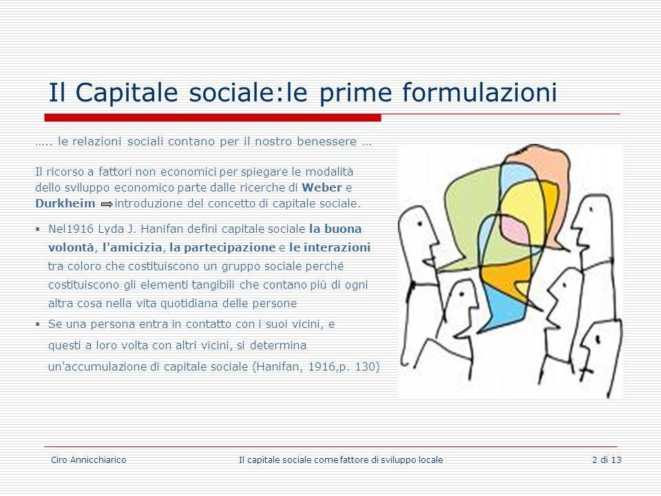 Ciro Annicchiarico Il capitale sociale come fattore di sviluppo locale 2 di 13 Il Capitale sociale:le prime formulazioni ….. le relazioni sociali cont