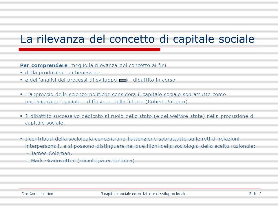Ciro Annicchiarico Il capitale sociale come fattore di sviluppo locale 3 di 13 La rilevanza del concetto di capitale sociale Per comprendere meglio la