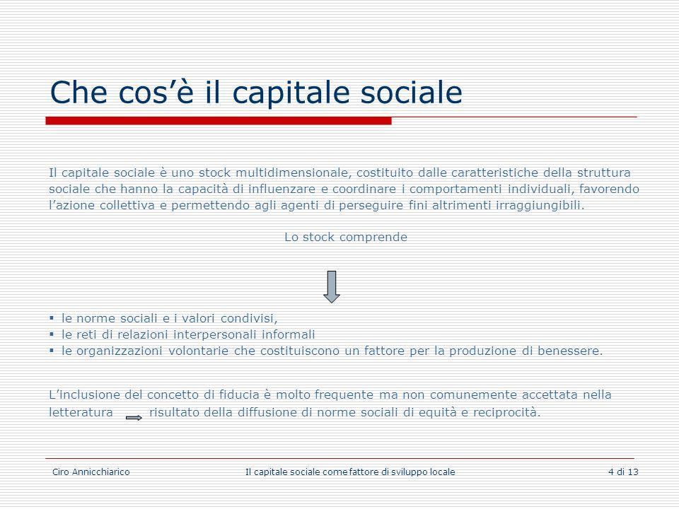 Ciro Annicchiarico Il capitale sociale come fattore di sviluppo locale 4 di 13 Che cosè il capitale sociale Il capitale sociale è uno stock multidimen