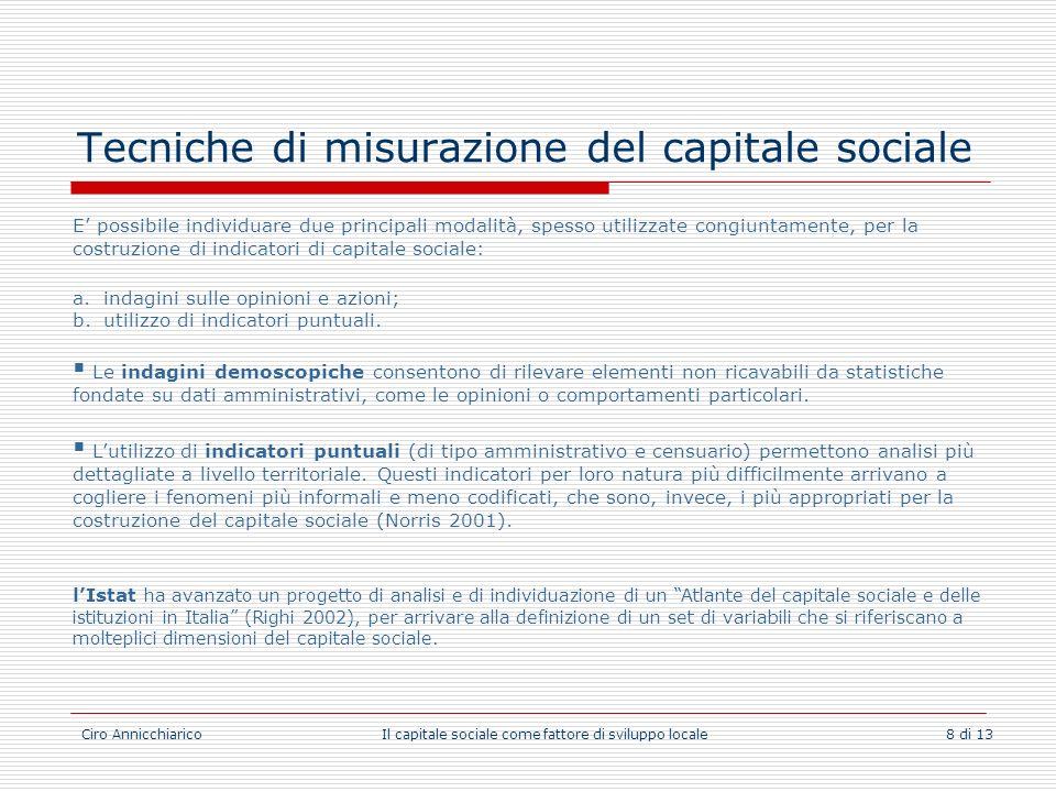 Ciro Annicchiarico Il capitale sociale come fattore di sviluppo locale 8 di 13 Tecniche di misurazione del capitale sociale E possibile individuare du