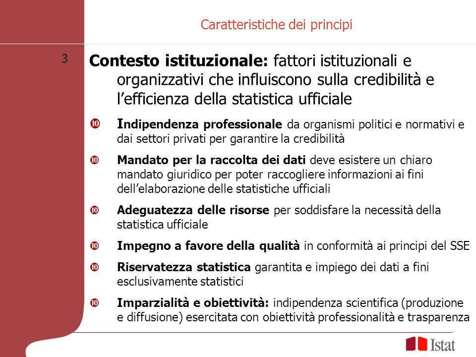 3 Caratteristiche dei principi Contesto istituzionale: fattori istituzionali e organizzativi che influiscono sulla credibilità e lefficienza della sta
