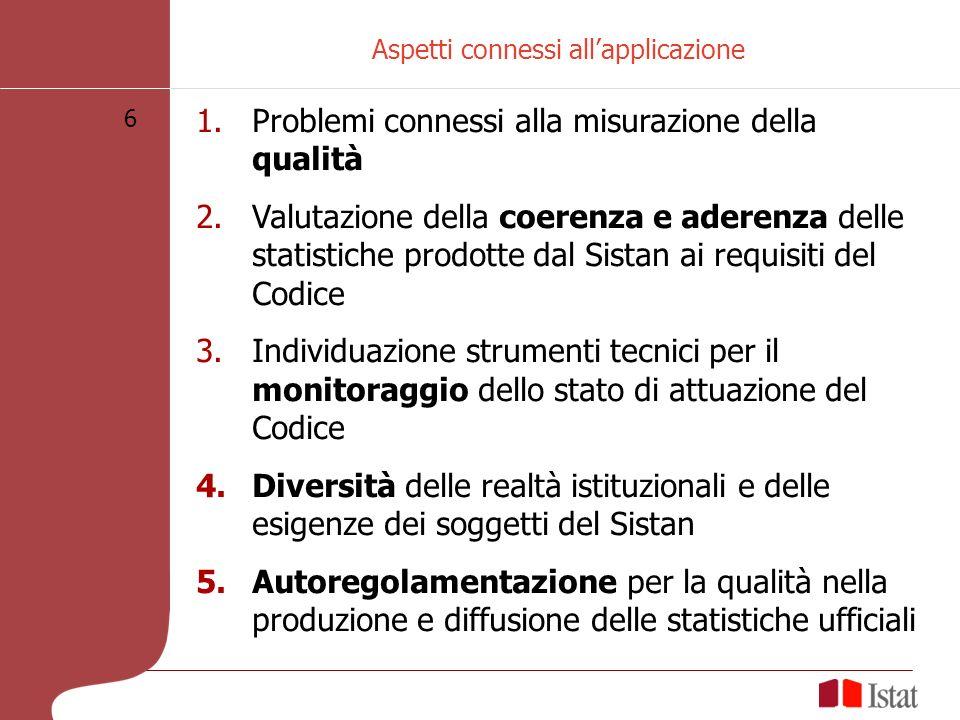 6 Aspetti connessi allapplicazione 1.Problemi connessi alla misurazione della qualità 2.Valutazione della coerenza e aderenza delle statistiche prodot